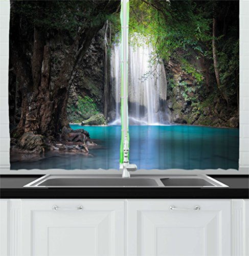 """Ambesonne Nature Kitchen Curtains, Surreal Scene Deep Down in Rainforest with Waterfall Idyllic Image, Window Drapes 2 Panel Set for Kitchen Cafe Decor, 55"""" X 39"""", Fern Green"""