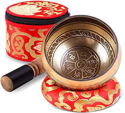 Tibetische Klangschale Set, Ohuhu 10cm Meditations Klangschale mit Klangschalenschlägel, Seidenkissen und Aufbewahrungstasche, Singing Bowl aus Tibet