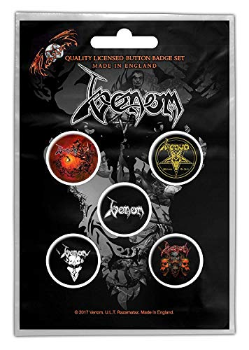 for-collectors-only Venom Button Set Welcome to Hell 5 Stück Buttons Badge Set Anstecker Black Metal Badges
