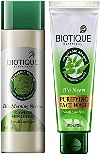 Biotique Bio Morning Nectar Flawless Skin Lotion, 120ml With Bio Neem Purifying Face Wash for Oily Acne Prone Skin, 150ml ...