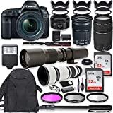 Canon EOS 5D Mark IV DSLR Camera w/ 24-105mm STM Lens + Canon EF 75-300mm III Lens, Canon 50mm f/1.8, 500mm Lens & 650-1300mm Lens + Deluxe Backpack + 64GB Memory + Monopod + Professional Bundle