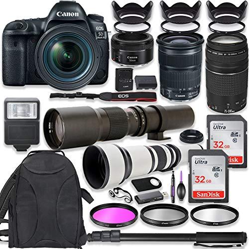 Canon EOS 5D Mark IV DSLR Camera w/ 24-105mm STM Lens + Canon EF 75-300mm III Lens, Canon 50mm f/1.8, 500mm Lens & 650-1300mm Lens + Deluxe Backpack + 64GB Memory + Monopod + Professional Bundle