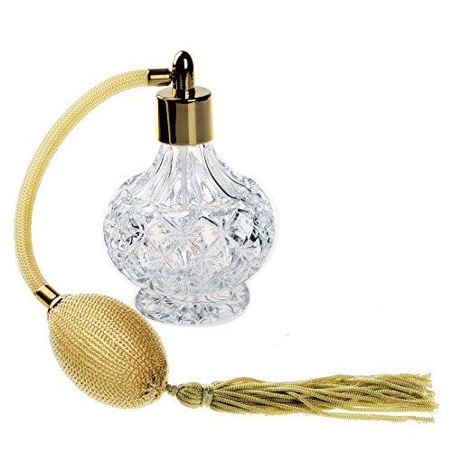 H&D - Frasco de perfume vacío con atomizador - Recargable - Cristal tallado - Estilo vintage