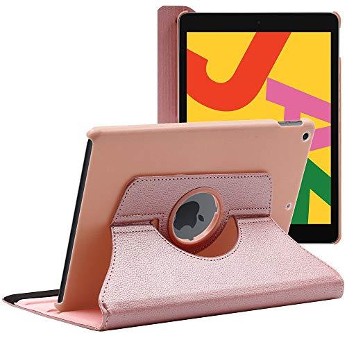 ebestStar - kompatibel mit iPad 10.2 Hülle (2019) Rotierend Schutzhülle Etui, Schutz Hülle Ständer, Rotating Hülle Cover Stand, Pink Gold [iPad: 250.6 x 174.1 x 7.5mm, 10.2'']