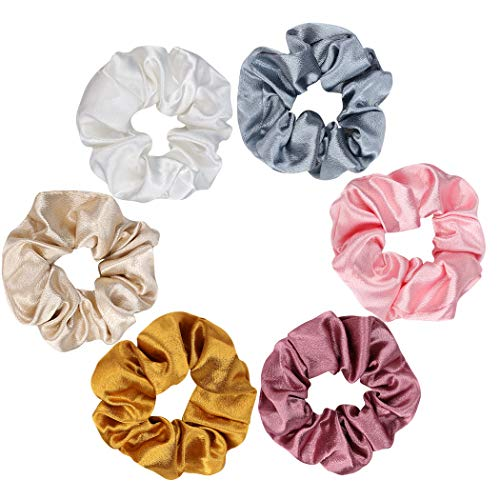 Aoprie 6 pcs Hair Scrunchies for Ponytail Solid Colors Fabric Elastic Scrunchies for Hair Ties for Women Girls Hair Accessories