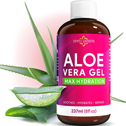 Aloe Vera Gel 100% Pure - Organic Maximum Hydration for Face, Skin and Hair from Plant Juice - Soothing Lotion Oil for After Sun Relief - Bulk 8oz size Cold Pressed - Made In USA