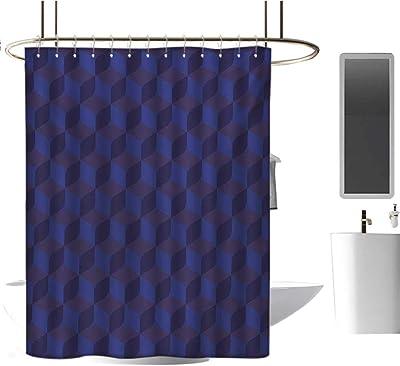 Romantic Shower Curtain Indigo Purple Hearts Print for Bathroom