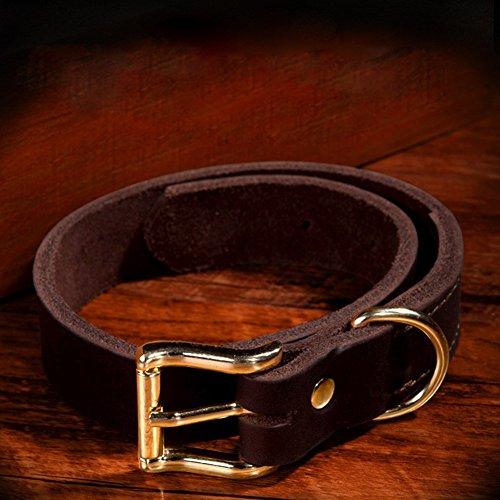 Pet Online Collar de perro grande de cuero collar de perro de tamaño mediano, de color marrón, 2,5 cm * 52CM