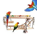 Makerfire Juguetes para pájaros Accesorios de Jaula Escalera de Madera...