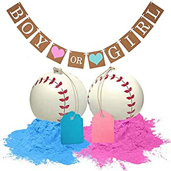 Besty Gender Reveal Baseballs and baby shower banner Great Gender Reveal Party Supplies  Pink&Blue