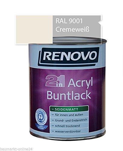 Acryl-Buntlack 2-in-1 750 ml RAL 9001 Cremeweiß Seidenmatt Renovo