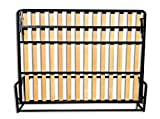 Wallbedking Cama De Matrimonio Abatible Horizontal 120 x 190 cm (Cama Doble Estilo Murphy Bed, Cama Plegable, sofá Cama, Mueble Cama Oculta).