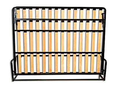 Wallbedking Cama De Matrimonio Abatible Horizontal 135 x 190 cm (Cama Doble Estilo Murphy Bed, Cama Plegable, sofá Cama, Mueble Cama Oculta).