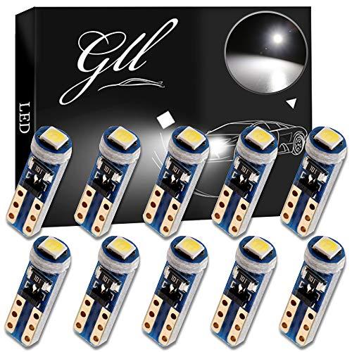 Grandview 10pcs Blanco T5 Bombillas LED 1-3030-SMD para Interior del Automóvil Velocímetro Tablero de Instrumentos Instrumento Indicador Indicador de Grupo Indicador de Luz Panel Lámpara de Tablero