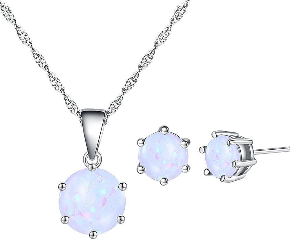Ai.Moichien Gemstone Opal Round Pendant Necklace Stud Earrings Sets Dainty Jewelry for Women Girls