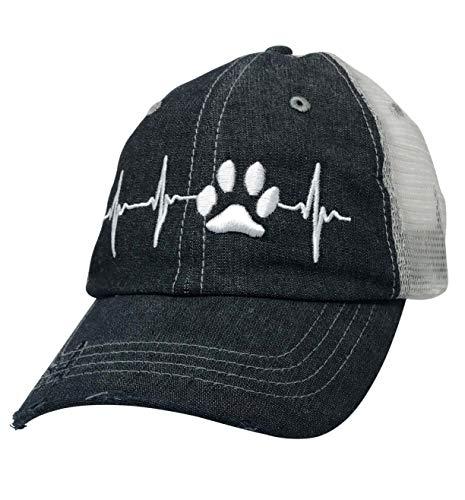 Paw Cat Dog EKG Dog MOM Cat MOM Embroidered Baseball Hat Mesh Trucker Style Hat Cap Dark Grey