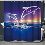 Fabric Shower Curtain,Crystal Dolphins Unique Fancy Magical Purple Marine Wildlife Ocean Animal Polyester Designer Cloth, Print Decorative Bathroom Curtains Include Hooks Set (0908)