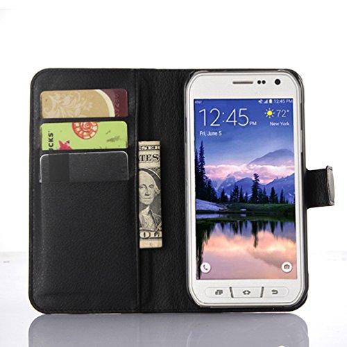 Manyip Samsung Galaxy S6 Active Hülle, PU Flip Leder Tasche Hülle Hülle Cover Handytasche Schutzhülle Etui Skin Für Galaxy S6 Active,Wallet mit Kartenfächer Design Schutz Protektiv Hülle Etui(JFC9-6)