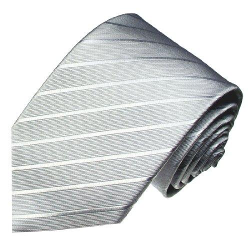 Lorenzo Cana - Silbergraue Designer Luxus Krawatte aus 100% Seide - Business Schlips - 84294