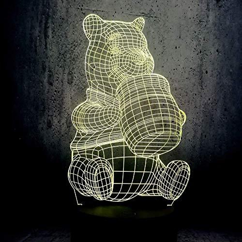 3D Illusion Led Veilleuse Nouveauté Lampe Dessin Animé Miel Winnie Lava Ours Lampe de Table Led Ampoule Décor USB Atmosphère Humeur Enfant Jouets Cadeau-Touch