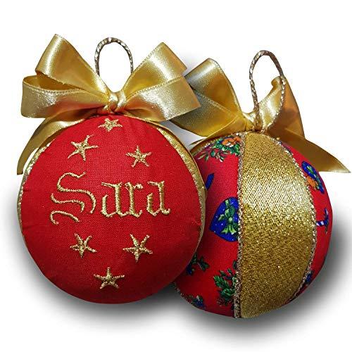 Crociedelizie, pallina di Natale personalizzata 8 cm nome ricamato decorazione natalizia personalizzabile rosso e lurex oro dorato idea regalo + scatola regalo in omaggio