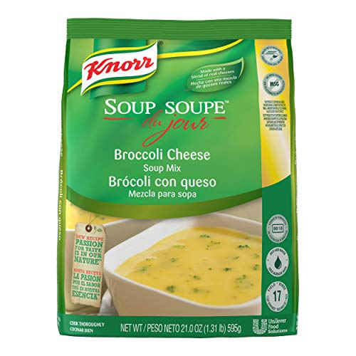 Knorr Professional Soup du Jour Broccoli Cheese Soup Mix Vegetarian, Gluten Free, No added MSG, 0g Trans Fat per Serving, Just Add Water, 21 oz, Pack of 4
