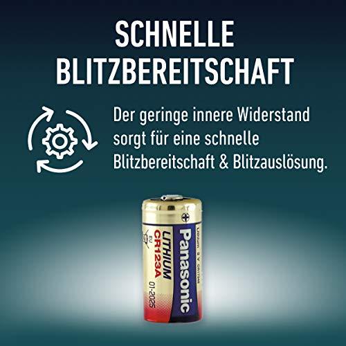 Panasonic CR123 zylindrische Lithium-Batterie für leichte Geräte mit hohem Energiebedarf wie Rauchmelder, Alarmanlage, Stirnplampe, Kameras, 3V, 10 Packungen (10 Stück)