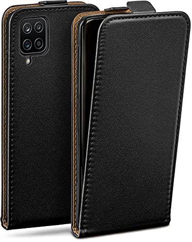 moex Flip Hülle für Samsung Galaxy A12 - Hülle klappbar, 360 Grad Klapphülle aus Vegan Leder, Handytasche mit vertikaler Klappe, magnetisch - Schwarz