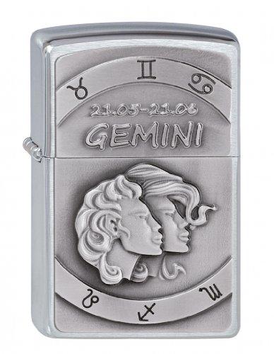 Zippo 2002074 Gemini embleem aansteker, messing, zilver, één maat