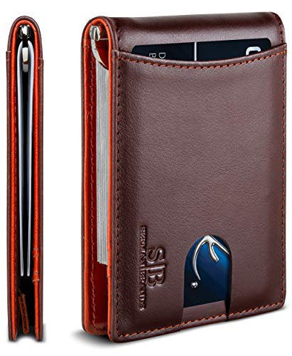SERMAN BRANDS RFID Blocking Slim Bifold Genuine Leather Minimalist Front Pocket Wallets for Men with Money Clip Thin Gift (Melted Chocolate 1.S)