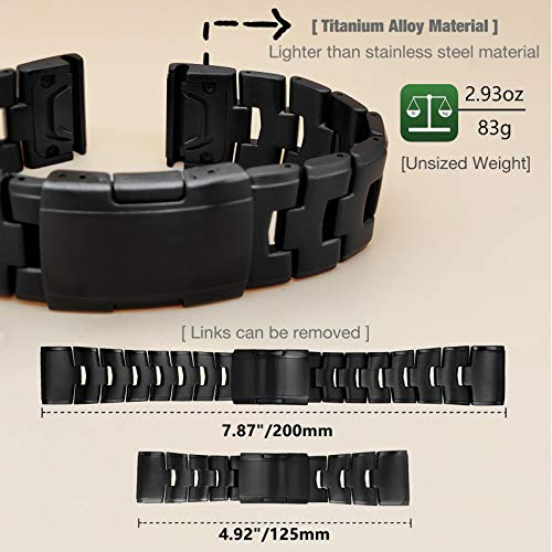 YOOSIDE QuickFit 26mm Watch Strap for Fenix 6X/Fenix 5X, Titanium Adjustable Wristband Strap with Stainless Steel Buckle for Garmin Fenix 6X Pro/Sapphire/Solar,Febix 3,Fenix 5X Plus,Tactix Delta,Black