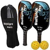 Bullpickpro Pickleball Paddle Sets-Composite Fiber Face and PP Honeycomb Core Pickleball Racquet,Lightweight Balanced