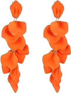 Luluping Dangle Acrylic Petal Earrings – Long Drop Statement Fashion Rose Flower Earrings for Women, Hanging Resin Floral ...