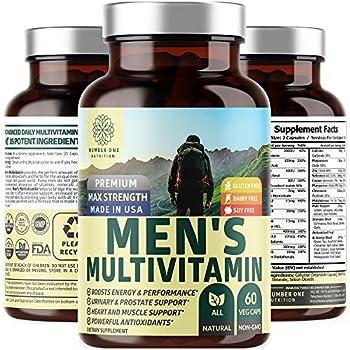 N1N Daily Multivitamin for Men Premium Multimineral Supplement - Vitamins A C E D B1 B2 B3 B5 B6 B12 Magnesium Zinc Biotin Spirulina Antioxidants All Natural 60 Veg Caps