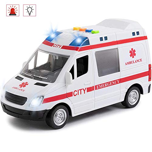 Toy To Enjoy Ambulance Toy Car with Light & Siren Sound Effects - Friction Powered Wheels & LED Lights - Heavy Duty Plastic Rescue Vehicle Toy for Kids & Children