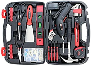 Toolbox Set with Tools for Women Included Cordless Screwdriver-SAVWAY P7994 Hand Tool Storage Case Homeowner's Tool Set with Drill Red and Black