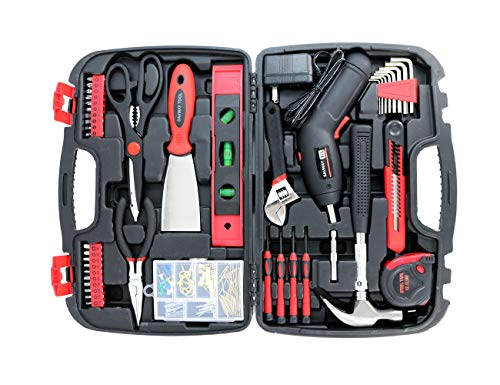 Home Tool Set with Power Drill Women s Tool Kit -SAVWAY P7994 Hand Tools Storage Case Homeowner s Black Basic Tool Box