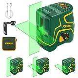 Kreuzlinienlaser Grün 45m, 3-Lasermodul, USB Aufladung, Selbstnivellierenden und Pulsfunktion, Magnethalter, 360° Drehbar, IP54, Schutztasche - POPOMAN MTM310B