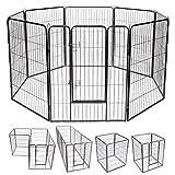Costway Parc pour Animaux en Métal Pliable à 8 Panneaux, pour Chiots avec Porte Verrouillable, Barrière de Clôture pour Enclos Intérieur/Extérieur, Chenils Portables pour Animaux de Compagnie