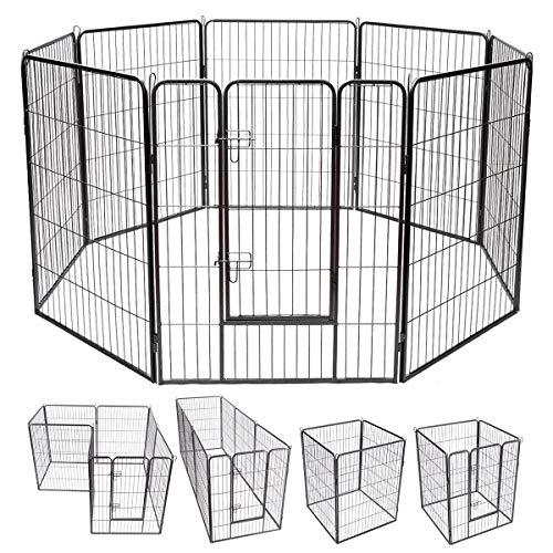 COSTWAY 8-teiliger 100x80cm Welpenlaufstall Welpenzaun Welpenkäfig Tier Laufgitter Hundegehege Absperrgitter mit abschließbarer Tür, für Hund, Katze und Kaninchen, schwarz
