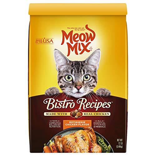 Meow Mix Bistro Recetas Alimentos secos para gatos, sabor a pollo asado, 12 libras