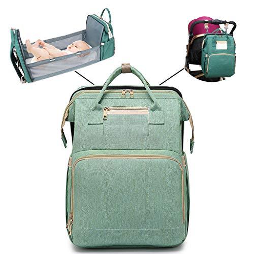 Mochila plegable 2 en 1, multifuncional, de gran capacidad, bolsa de pañales, bolsa de pañales, bolsa de bebé, cambiador, bolsa de maternidad, mochila de viaje con 2 correas de gancho para cochecito As see the picture Lgn