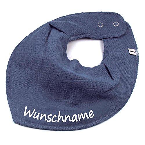 Elefantasie HALSTUCH mit Namen oder Text personalisiert dunkelgrau für Baby oder Kind