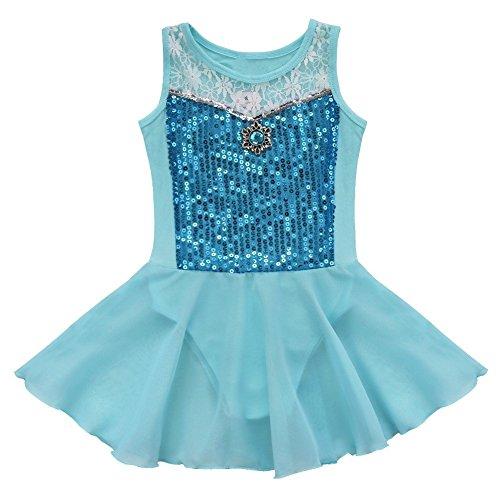 TiaoBug Kinder Ballettanzug Ballett Trikot mit Röckchen Mädchen Ballettkleid mit Innenslip 98-152 Blau 128