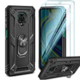 AROYI Funda Compatible con Xiaomi Redmi Note 9 Pro / 9S /9 Pro MAX con 2 Unidades Cristal Templado Film, 360 Grados Anillo iman Bumper - Negro