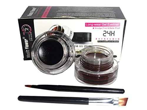 Music Flower Long Lasting Gel Eyeliner, Black and Brown
