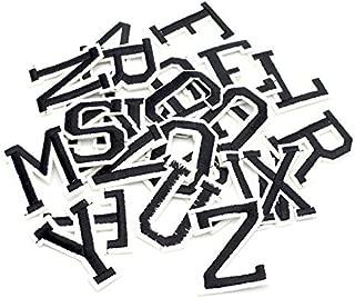 26pcs/lot Alphabet Letter Patches Embroidered Iron On Patch (Black Alphabet)