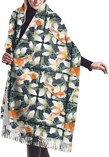 NR Womens Winter Scarf, Water Lily Koi Pond Fish Womens Scarf Large Soft Silky Pashmina Cashmere Shawl Wrap