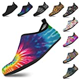 Yes we Vibe Water Shoes + Barefoot Shoes + Aqua Socks - Non-Slip & Quick-Dry - for Men and Women Spiral Tie Dye Design
