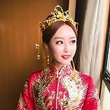 JC's Beauty Set of Traditonal Hairclip Chinese Coronet Tassels Headdress Kanzashi Wedding Dragon Phoenix Bride Headwear Chinese Style Accessories Wedding Hair Clip Cold Color